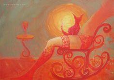 """MAŁGORZATA SEWERYN """"Jesienny Czochracz"""" 100x70cm, technika mieszana na płótnie, 2010 /  """"Autumn Disheveled Cat"""" 100x70cm, mixed media on canvas, 2010 www.seweryn.eu"""