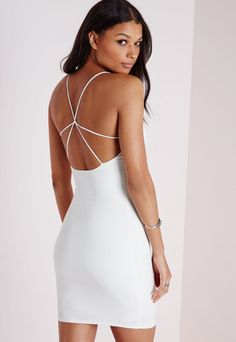 Strap Detail Mini Dress White - Dresses - Mini Dresses - Missguided White  Mini Dress c58c6af3d