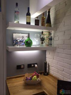 Кухня-гостиная, барная стойка из дуба