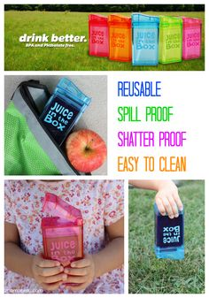 Amazing new way to send Juice Boxes to school! The REUSABLE, SPILL-PROOf, SHATTER-PROOF and EASY TO CLEAN Juice in the Box Container! I am giving one away on the blog (ends 10/10/13)