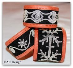 Exclusive embroidered bracelets by AC Design Bone Jewelry, Leather Jewelry, Leather Craft, Viking Bracelet, Folk Embroidery, Wire Weaving, Textiles, Fabric Art, Handicraft