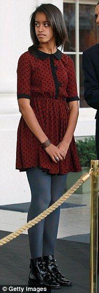 Malia pardons a turkey named 'Liberty' at the White House November 23, 2011