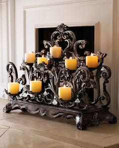 Ambella Fireplace Candelabrum - home decor, indoor decorations, candles and holders (wrought iron scroll have bronze finish)