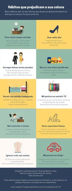 [Infográfico] Alguns hábitos podem estar prejudicando a sua coluna. Saiba quais são eles. Acesse http://www.dryunes.com/o-que-faz-mal-a-coluna/.