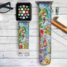 Super Mario 30 Years Custom Apple Watch Band Leather Strap Wrist Band Replacement 38mm 42mm