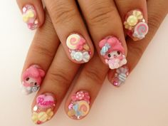 Kawaii nails are crazy amazing. I'd love to have nails like… 3d Nail Art, Kawaii Nail Art, Nail Arts, So Nails, How To Do Nails, Cute Nails, Hair And Nails, Pretty Nail Art, Cute Nail Art
