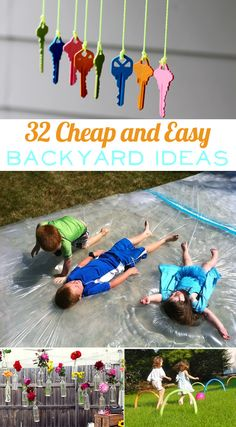 32 Cheap And Easy Backyard Ideas- Some great ideas you could use for an outdoor birthday party!