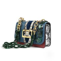 ec463415432 Blue Oversize Buckle Python Leather Shoulder Bags with Acrylic Chain