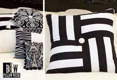 B Pillows: Squares & stripes pillow. Tutorial: http://sew4home.com/projects/pillows-cushions/590-black-a-white-pillow-pillow-pile-squares-a-stripes-