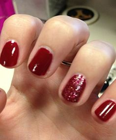 Winter nail polish idea - classic red with a spin