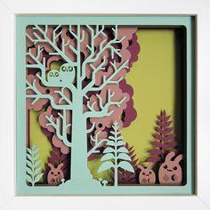 tableau en papier découpé : forêt