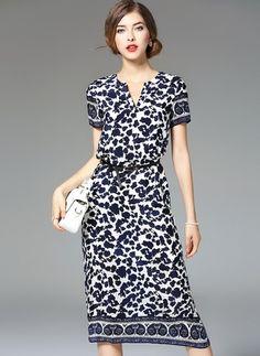 Silk Leopard Short Sleeve Mid-Calf Vintage Dresses
