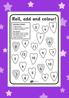 Roll, add and colour! Free valentines worksheet > http://www.twinkl.co.uk/resource/t-t-9090-valentines-day-colour-and-roll-worksheet school, primary, fun, maths