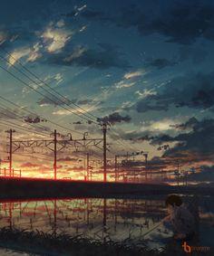 Anime picture with original natsu (pixiv Graphisches Design, Anime Scenery Wallpaper, Art And Illustration, Aesthetic Art, Landscape Art, Aesthetic Wallpapers, Amazing Art, Fantasy Art, Anime Art