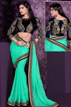 Persian Green Satin and Chiffon Embroidered Party and Festival Saree Sku Code:368-5117SA604218 $ 77.00