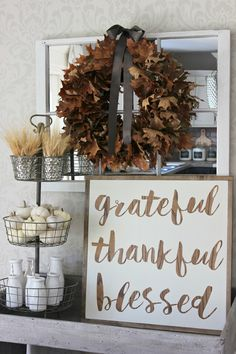 Grateful – Thankful – Blessed DIY Thanksgiving Sign: Thanksgiving is all about reminding us why we should be grateful, thankful, and blessed all year long. - 17 Joyous Thanksgiving Decorations to Set the Mood for Holidays Rustic Fall Decor, Fall Home Decor, Autumn Home, Fall Decor Signs, Fall Wood Signs, Thanksgiving Signs, Holiday Decorations Thanksgiving, Rustic Thanksgiving Decor, Thanksgiving Traditions