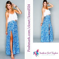 """SHOW ME YOUR MUMU Skirt Printed Long Wrap Maxi Size Large. New with tags. $150 Retail + Tax.   Color: Blue/ white.    High waisted and slimming. Lined with a mini skirt. Side zipper. Front side slit.  100% poly.   Measurements for Size Large: Length: 43"""" Waist: 40""""  Availability:  Sizes Medium and Large.    ❗️ Please - no trades, PP, holds, or Modeling.   ✔️ PRICE IS FIRM.    Bundle 2+ items for a 20% discount!    Stop by my closet for even more items from this brand! Show Me Your MuMu…"""