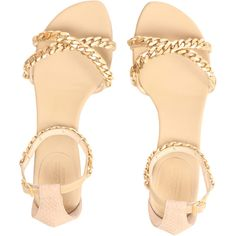 MaxMara Flat chain sandal (11.030 RUB) ❤ liked on Polyvore featuring shoes, sandals, flats, shoes sandals, flat sandals, strap sandals, low heel sandals, flat leather sandals and beige sandals