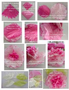 I have been obsessed with the coffee filter flowers lately! I think they look just like peonies or some really fluffy old fashioned roses. :) I searched out a bunch of different ways to make them via the internet and. Coffee Filter Crafts, Coffee Filter Flowers, Coffee Filters, Coffee Flower, Handmade Flowers, Diy Flowers, Fabric Flowers, Flower Diy, Flower Wall