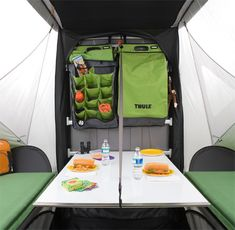 This is a three-in-one towable vehicle that morphs from compact, traveling profile to rugged toy-hauler mode to spacious and comfortable camping configuration. The integrated, lightweight unit can be pulled by almost any vehicle and can carry up to 800 lb. of gear. It can also accommodate top-mount racking systems. .