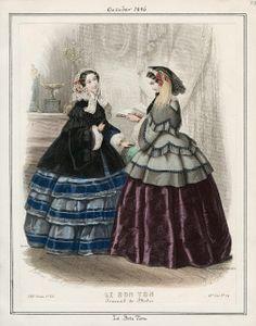In the Swan's Shadow: Le Bon Ton, October 1856.  Civil War Era Fashion Plate