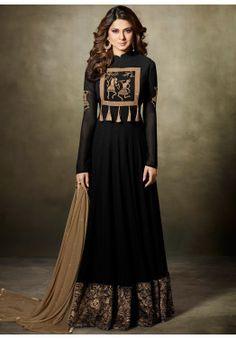 Jennifer Winget Black Abaya Style Georgette Salwar Suit