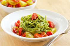 Cilantro Pesto over Zucchini Noodle. My new favorite kind of pesto with. cilantro and it's SO much cheaper than basil! Veggie Noodles, Zucchini Noodles, Squash Noodles, Veggie Pasta, Veggie Dishes, Savoury Dishes, Pasta Dishes, Real Food Recipes, Vegetarian Recipes