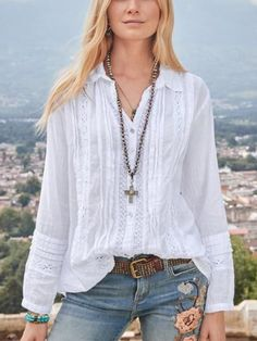 anniecloth Long Sleeve 1 White Red Blue Yellow Women Tops Ca Casual Tops For Women, Blouses For Women, Off White Long Sleeve, Types Of Sleeves, Shirt Blouses, Casual Shirts, Long Sleeve Shirts, Fashion Outfits, Clothes