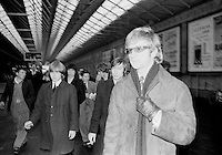 Ireland 1965.The Rolling Stones and manager Andrew Loog Oldham arriving at Amiens Street station.