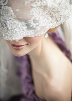 Looking for your wedding color palette? The Perfect Palette wants to help! The Perfect Palette is dedicated to helping you see the many ways you can use color to bring your wedding to life. Lace Veils, Bridal Veils, Pearl And Lace, Glamour, Purple Wedding, White Lace, Purple Lace, Marie, Wedding Inspiration