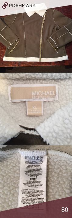 """XL Michael Kors Sherpa Lined Moto Jacket XL Michael Kors Sherpa Lined Moto Jacket. This jacket measures 22 1/2"""" long from shoulder and the bust is 22"""" laying flat. This jacket is in excellent condition and was only worn once. Comes from a Smoke Free/Pet Friendly home. Offers always welcome. MICHAEL Michael Kors Jackets & Coats Pea Coats"""
