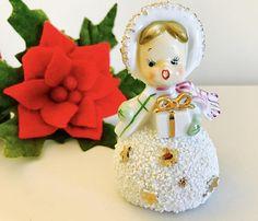 Vintage Semco Christmas Girl December Snowball Bell Figurine