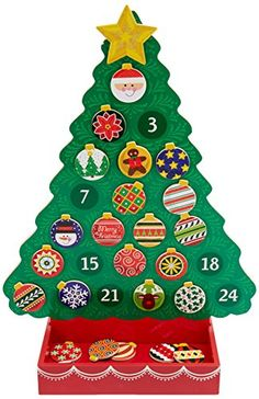 Melissa & Doug Countdown to Christmas Wooden Advent Calendar (Seasonal & Religious, Magnetic Tree, 25 Magnets, Great Gift for Girls and Boys - Best for 6 and 7 Year Olds) Christmas Countdown, Christmas Tree Advent Calendar, Wooden Advent Calendar, Christmas Eve Box, Christmas Tree Toy, Holiday Tree, Xmas Tree, Advent Calendar For Toddlers, Advent For Kids