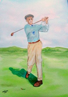 Francis Ouimet, 1913 US Open, 10x14, watercolor, oct 26, 2015. by Tom Dudones