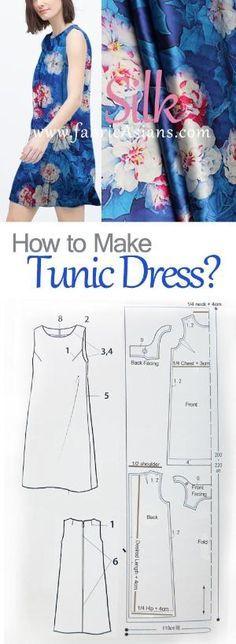 tunic dress sewing pattern free. how to sew tunic dress. blue silk dress project. by gloriaU