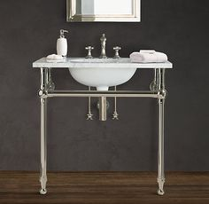GRAMERCY SINGLE METAL WASHSTAND with stainless steel tubing and italian carrara marble top by Restoration Hardware