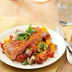 Smoky Spanish paprika gives your salmon and grilled vegetables an exotic kick. #protein #vegetables #myplate