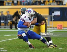 0a9e707bdfc Defensive lineman Cameron Heyward of the Pittsburgh Steelers sacks  quarterback EJ Manuel of the Buffalo Bills
