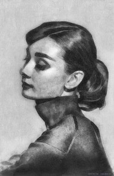 Audrey Hepburn (Classic Beauty)   Pencil, chalk and watercolor, with digital adjustments.