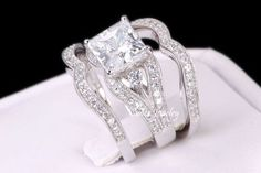 Sterling Silver Princess Cut Engagement Wedding Ring Set