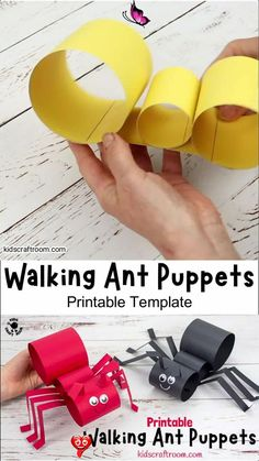 Fun Walking Ant Puppets This Walking Ant Craft is sure to delight kids and inspire lots of imaginative play. These ant puppets are easy to make with the printable template and nice and chunky for little hands. Make your paper ant craft move by gently twisting your wrist from side to side. Such a fun activity for Summer, insect, bug and minibeast study units. #kidscraftroom #kidscrafts #antcrafts #ants #puppets #puppetcrafts #papercrafts #printablecrafts<br> This Walking Ant Craft is so fun… Rainy Day Activities For Kids, Creative Activities For Kids, Creative Arts And Crafts, Easy Crafts For Kids, Summer Crafts, Diy For Kids, Ant Crafts, Insect Crafts, Diy Crafts Hacks
