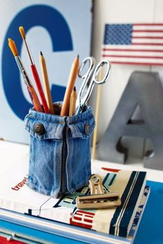 blue jean pencil holder
