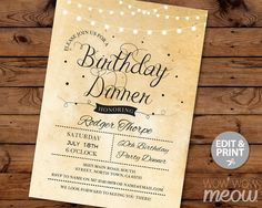 Elegant BIRTHDAY Dinner Party Invite INSTANT by wowwowmeow on Etsy