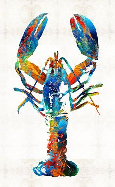Lobster art PRINT with striking colors! Sharon Cummings is an original artist who sells paintings and prints worldwide.    Artwork Title: