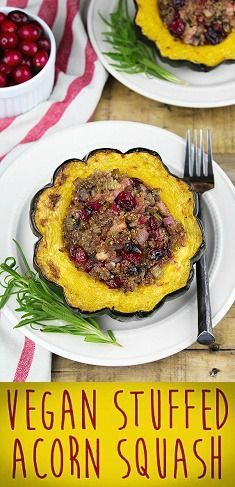 Vegan Stuffed Acorn Squash. It's sweet, savory & hearty. Gluten-free, dairy-free, fall recipe.