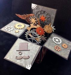 Unique Laser Designs: Steampunk Pop-Up Box Card Tutorial Card In A Box, Pop Up Box Cards, 3d Cards, Cool Cards, Easel Cards, Card Kit, Box Cards Tutorial, Card Tutorials, Fancy Fold Cards