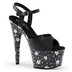"""Totally Wicked Footwear - Pleaser Starbloom 709 Black Star & Flower Rhinestone 7"""" Platform Heel"""