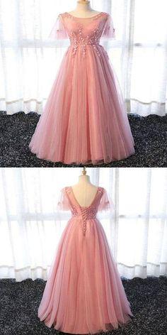 A-Line Scoop Neckline Appliqued Pink Long Prom Dresses With Short Prom Dresses Long Pink, Prom Dresses 2018, Unique Prom Dresses, Mermaid Prom Dresses, Ball Dresses, Elegant Dresses, Beautiful Dresses, Short Dresses, Bridesmaid Dresses