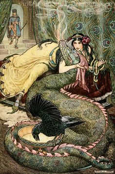'Marina lay upon a couch . . . and fondled a fiery dragon with her right hand'. Frank Cheyne Pape illustration from 'The Russian Story Book' (1916).
