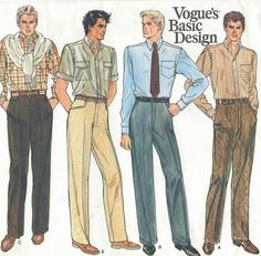 1980s Vogue Basic Design Sewing Pattern 1270 Mens by CloesCloset